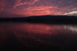 clouds, danube, night, reflection, sky, sunset, water