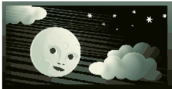 clouds, moon, night
