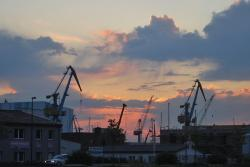 clouds, sky, cloud, crane, cranes, baukran, port