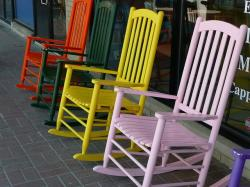 colorful, wooden, rocking chairs