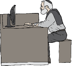 computer, desk, man, person, cartoon, pictogram, beard