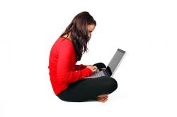 computer, female, girl, isolated, laptop, modern