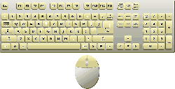 computer, mouse, top, view, keyboard, yellow, cartoon