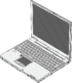computer, notebook, laptop, small, outline, cartoon
