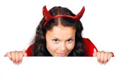 costume, demon, devil, board, female, girl, halloween