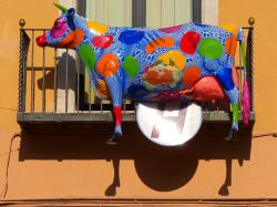 cow, colorful, art