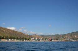 crimea, lake, water, sky, clouds, beach, people