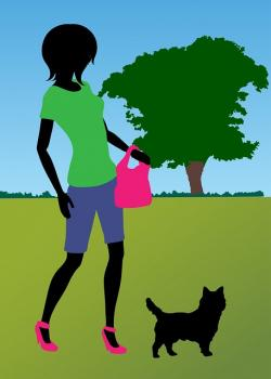 dog, woman, walking, exercise, park, girl, female