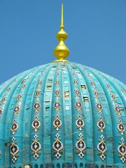 dome, blue, mosque, mausoleum, tile, ceramic