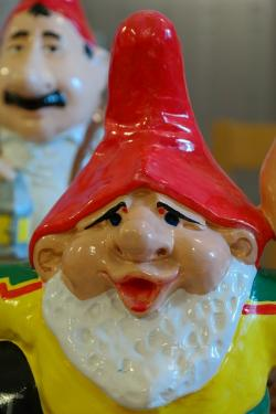 dwarf, garden gnome, fig, funny, making a face, red cap