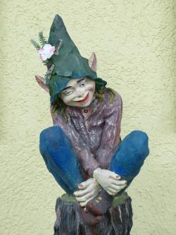 elf, dwarf, gnome, fig, hat, pointed ears, girl, sit