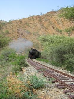 eritrea, landscape, mountains, trees, plants, railroad