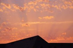 evening sky, afterglow, sunset, roofs, clouds
