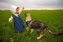 farm, rural, girl, dog, playing, field, sky, clouds