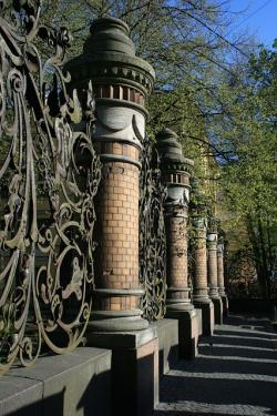 fence, pillars, decorative, ornate, park, path, trees