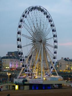 ferris wheel, brighton, england, sussex, light