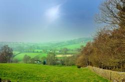 fields, landscape, season, spring, grass, forest, hills