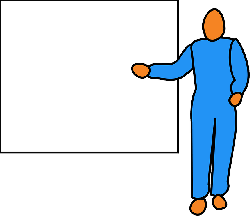 figure, man, pointing, screen, whiteboard, blue