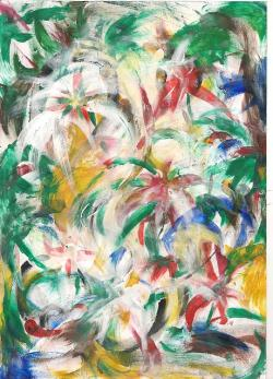 finger, art, colourful, flowers, painting