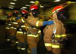 firemen, drill, firefighters, training, in line, ship