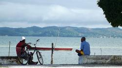 fishermen, boat, man, mar, bike, beira mar, coastal