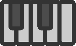 flat, piano, keys, theme, icon, key