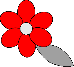 flower, simple, red, green