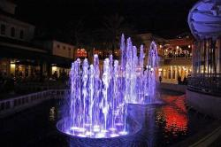 fountain, night, city, town, square, water, america