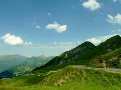 france, landscape, mountains, scenic, sky, clouds, road