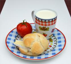 french cheese, bread, milk, breakfast, food, tomato