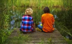 friends, children, sit, friendship, green, plant