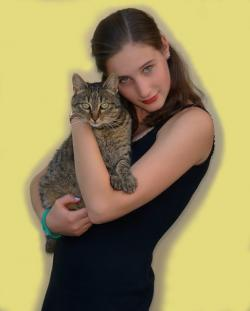 girl, cat, person, portrait, yellow, animal