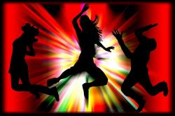 girls, music, dancing, jumping, disco, explosion