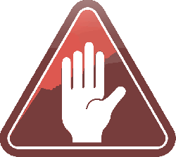 glossy, hand, red, stop, triangle, warning, white