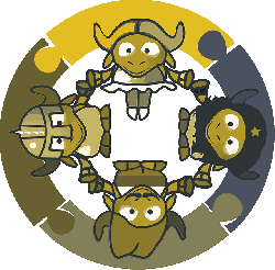 gnu, kids, circle, cartoon, bull, hands, connect, share