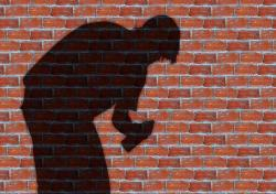 graffiti, man, wall, stones, shadow, silhouette