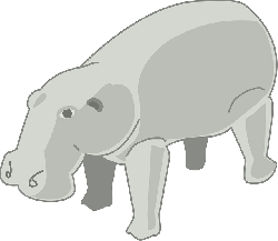 gray, large, cartoon, animal, shadows, hippopotamus