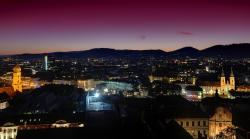 graz, austria, sunset, evening, dusk, night, lights