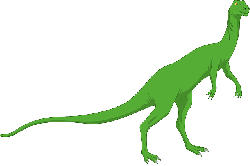 green, dinosaur, long, standing, tail, reptile, ancient
