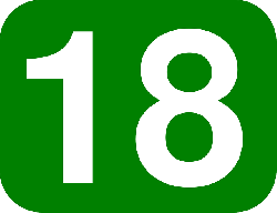 green, white, number, rounded, rectangle, 18, round
