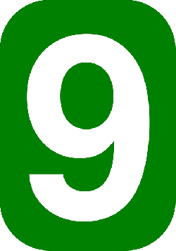 green, white, number, rounded, rectangle, round