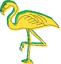 green, yellow, bird, wings, art, flamingo, long, animal