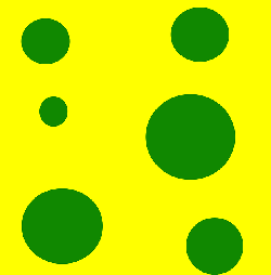green, yellow, circles, squares, holes, circle, square