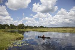 guyana, sky, clouds, lake, stream, water, man, canoe