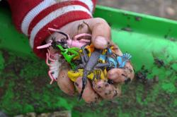 hand, children, dirt, toys, playing, kid