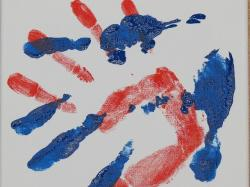 hand, handprint, finger paints, watercolor, reprint