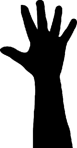 hand, silhouette, finger, arm, black, thumb