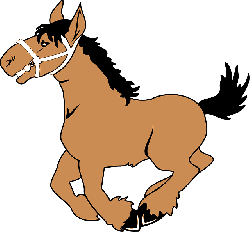 happy, cartoon, horse, ground, jumping, off, smile
