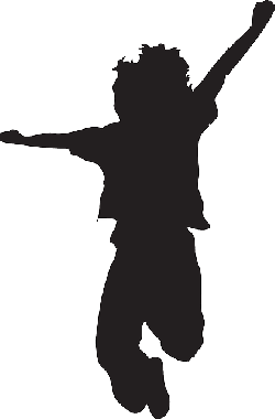 happy, kid, silhouette, jumping, pose, kids