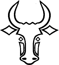 head, outline, face, white, bull, horn, horns, animal